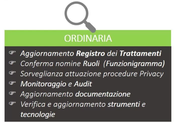 gdpr management fase ordinaria