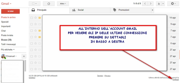 gmail ultimi accessi ip ad un account