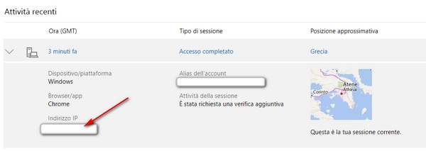 ultimi accessi ip log microsoft live outlook account