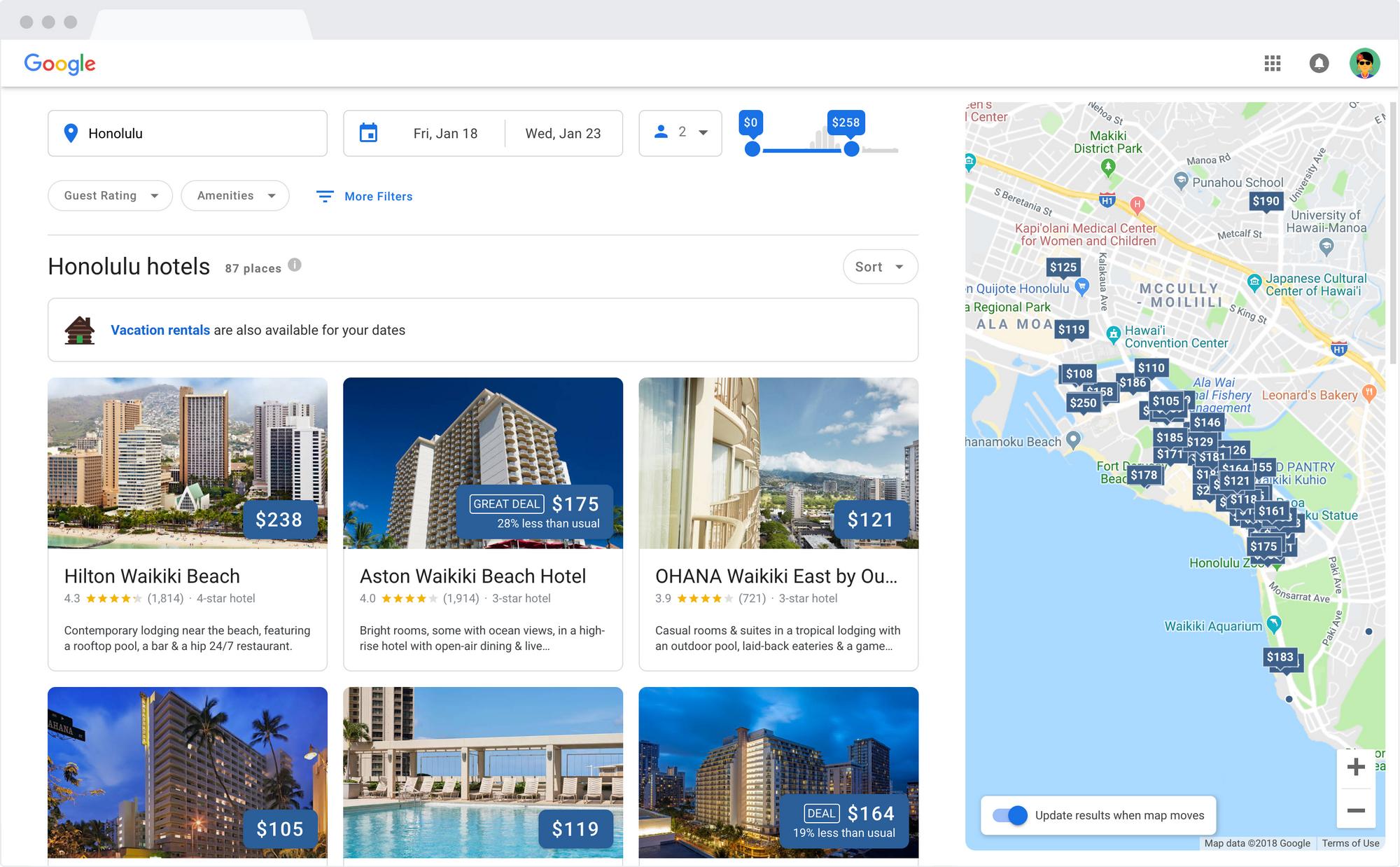La nuova funzione di Google per ricerca e prenotazione degli hotel da desktop è tanto accattivante quanto potente (foto)