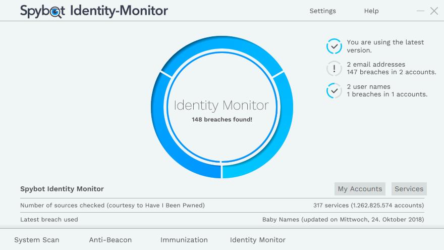 Verifica se la tua email e i dati collegati sono finiti nelle mani degli hacker grazie a Spybot Identity Monitor