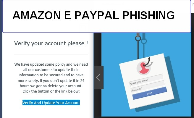 """Phishing Amazon e Paypal : """"verify and update account information please"""""""