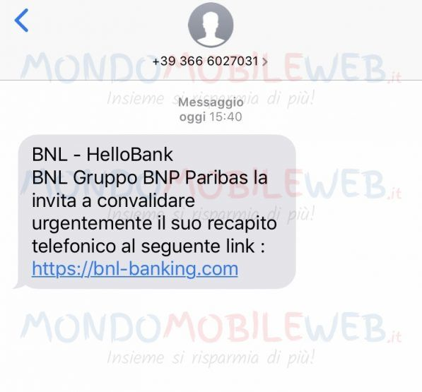Rischio phishing con un SMS apparentemente notificato dall'istituto bancario BNL