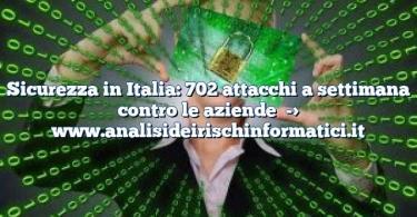 Sicurezza in Italia: 702 attacchi a settimana contro le aziende