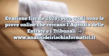 Evasione fiscale 2020 : ecco quali sono le prove online che cercano l'Agenzia delle Entrate e i Tribunali