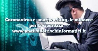 Coronavirus e smartworking, le minacce per la sicurezza