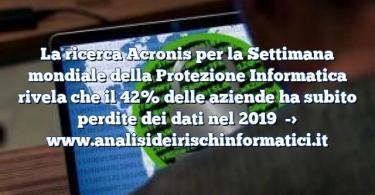 La ricerca Acronis per la Settimana mondiale della Protezione Informatica rivela che il 42% delle aziende ha subito perdite dei dati nel 2019