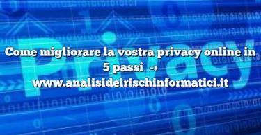Come migliorare la vostra privacy online in 5 passi