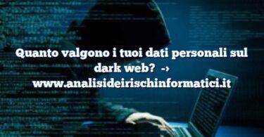 Quanto valgono i tuoi dati personali sul dark web?