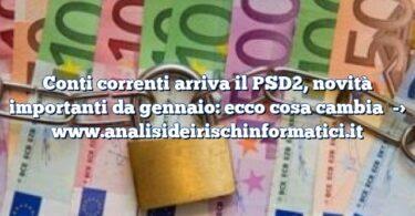Conti correnti arriva il PSD2, novità importanti da gennaio: ecco cosa cambia