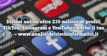 Diffusi online oltre 235 milioni di profili TikTok, Instagram e YouTube : anche il tuo ?