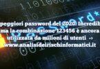 Le peggiori password del 2020. Incredibile ma la combinazione 123456 è ancora utilizzata da milioni di utenti