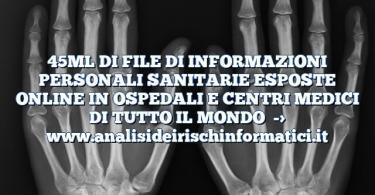 45ML DI FILE DI INFORMAZIONI PERSONALI SANITARIE ESPOSTE ONLINE IN OSPEDALI E CENTRI MEDICI DI TUTTO IL MONDO