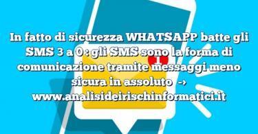 In fatto di sicurezza WHATSAPP batte gli SMS 3 a 0 : gli SMS sono la forma di comunicazione tramite messaggi meno sicura in assoluto