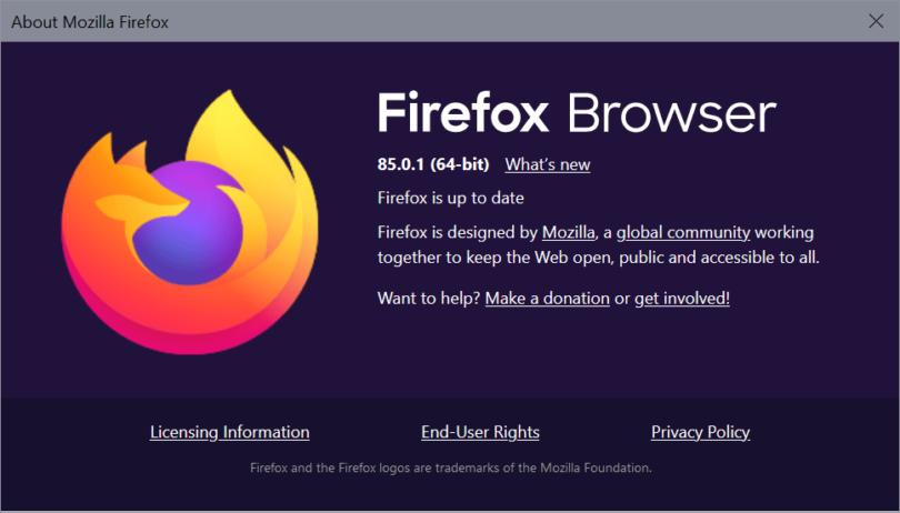 Firefox 85.0.1 risolve un problema di sicurezza critico e bug