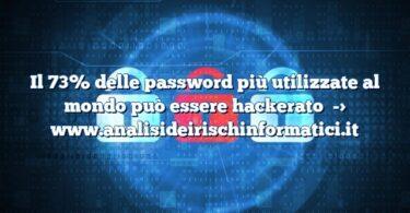 Il 73% delle password più utilizzate al mondo può essere hackerato