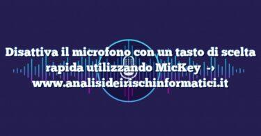 Disattiva il microfono con un tasto di scelta rapida utilizzando MicKey