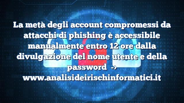 La metà degli account compromessi da attacchi di phishing è accessibile manualmente entro 12 ore dalla divulgazione del nome utente e della password