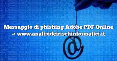Messaggio di phishing Adobe PDF Online