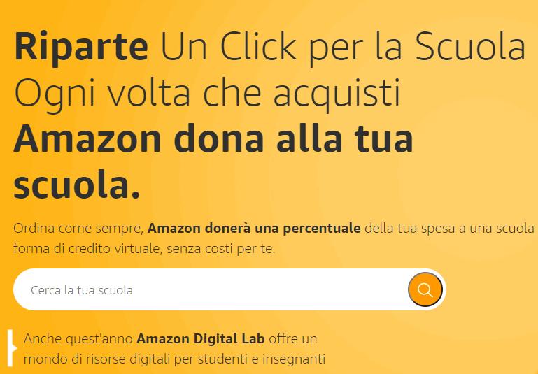 Riparte Un Click per la Scuola : ogni volta che acquisti Amazon dona alla tua scuola